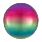 Apaļš folijas  balons, varaviksnes krāsas ar ombré efektu,  Orbz ®, diametrs 43 cm, piepūšams ar hēliju