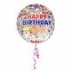 """Apaļš, caurspīdīgs balons """"Dzimšanas diena – konfeti"""", Orbz ®, diametrs 43 cm,"""