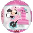 """Apaļš, caurspīdīgs balons """"1. dzimšanas diena – Pelīte Minnija"""", Orbz ®, diametrs 43 cm,"""