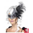 Acu maska ar spalvām, sudraba un melna.