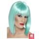 Grezna (glamūra) neona zilganzaļa  īsa parūka, taisna kare ar čolku