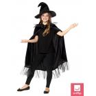 Raganas komplekts – melns spīdīgs apmetnis un cepure. Viens bērnu izmērs