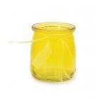 Stikla svečturis / trauciņš ar organzas lenti, dzeltenais, 7.5 x 6.5 cm