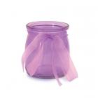 Stikla svečturis / trauciņš ar organzas lenti, violets, 7.5 x 6.5 cm