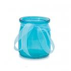 Stikla svečturis / trauciņš ar organzas lenti, gaiši zils, 7.5 x 6.5 cm