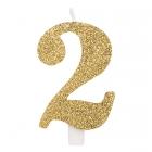 """Svece tortei vai kūkai """"2"""" ciparu formā, zelta, sprakstoša, komlektā ar svečturi, augstums 9.5 cm."""