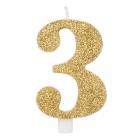 """Svece tortei vai kūkai """"3"""" ciparu formā, zelta, sprakstoša, komlektā ar svečturi, augstums 9.5 cm."""