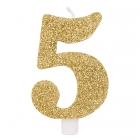 """Svece tortei vai kūkai """"5"""" ciparu formā, zelta, sprakstoša, komlektā ar svečturi, augstums 9.5 cm."""