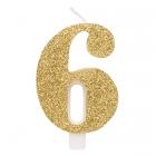 """Svece tortei vai kūkai """"6"""" ciparu formā, zelta, sprakstoša, komlektā ar svečturi, augstums 9.5 cm."""