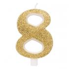 """Svece tortei vai kūkai """"8"""" ciparu formā, zelta, sprakstoša, komlektā ar svečturi, augstums 9.5 cm."""