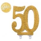 """Svece tortei vai kūkai """"50"""" ciparu formā, zelta, komlektā ar svečturi, augstums 12 cm."""