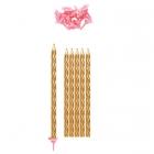 Garas tortes svecītes zeltā krāsā komplektā ar rozā svečturiem 10 gab. x 15 cm.