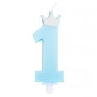 1. dzimšanas dienas tortes svece, gaiši zila ar perlamutru, kopletā ar svečturi, augstums 9.5 cm