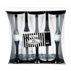 Vīna vai šampanieša plastikātas glāzes ar melnu kājiņu, 100 ml. x 10. gab.