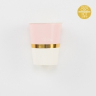 Papīra glāzītes rozā krāsā ar zelta apmali, 250 ml., 8 gab.
