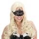 Venēcijas acu maska ar spīdumu un dārgakmeņiem, melna