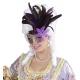 Kolumbijas karnevāla maska ar spīdumu un spalvām, zelta un violeta
