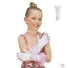 Bērnu garie glamura balti cimdi ar spalvām un rozēm