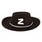 Zorro melna filca cepure