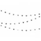 Zvaigžņu virtene, izgatavotas no sudraba folija papīra. Garums aptuveni 3.6 m un augstums 5 cm. .
