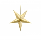 Papīra dekors zvaigzne, izgatavots no zelta spoguļa papīra, ar zelta auklu, diametrs 45 cm