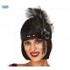 Retro stila galvas aksesuārs, melns, atlasa, ar rotu un melnu spalvu