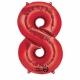 Skaitlis  ar hēliju numurs 8 Sarkans 53 cm x 83 cm