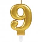 Skaitlis svece 9 Dzirkstošas svinības zelta krāsa augstums 9,3 cm