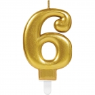 Skaitlis svece 6 Dzirkstošas svinības zelta krāsa augstums 9,3 cm