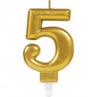 Skaitlis svece 5 Dzirkstošas svinības zelta krāsa augstums 9,3 cm
