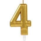 Skaitlis svece 4 Dzirkstošas svinības zelta krāsa augstums 9,3 cm