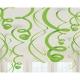 Dekorāciju komplekts 12. gab  spirales no folijas  Kivi zaļais  55,8 cm