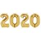 Zelta krāsas ciparu formas 2020 folijas balonu komplekts Jaunā Gada svinēšanai, 4x86 cm