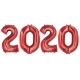Sarkana krāsas ciparu formas 2020 folijas balonu komplekts Jaunā Gada svinēšanai, 4x86 cm