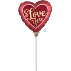"""Sirdsformas folijas gaisa balons """"Satin Sangria & Gold"""", 23 x 23 cm, piepūšams ar gaisu un lietojams ar kociņu"""