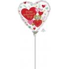 """Sirdsformas folijas gaisa balons """"Valentine Wishes"""", 23 x 23 cm, piepūšams ar gaisu un lietojams ar kociņu"""