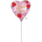 """Sirdsformas folijas gaisa balons """"Satin Love You Painted"""", 23 x 23 cm, piepūšams ar gaisu un lietojams ar kociņu"""