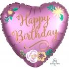 "Folija balons ""Dzimšanas dienas ziedi"", Satin Luxe sirds formas balons 43 cm"