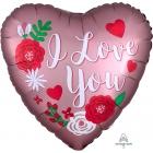"""""""Roza Mīlestība""""  - sirds formas folijas hēlija balons, Satin Luxe, 43 cm"""