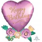 """Sirds formas folijas hēlija balons """"Ar dzimšanas dienu – ziedu pušķi"""", izmērs 58 x 76 cm,"""