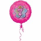 Rozā folijas balons ar ciparu  7 43 cm ar hēliju