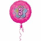 Rozā folijas balons ar ciparu  3 43 cm ar hēliju