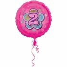 Rozā folijas balons ar ciparu  2 43 cm ar hēliju