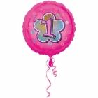 Rozā folijas balons ar ciparu  1 43 cm ar hēliju