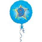 Zila folijas balons ar zvaigzne un ciparu 9 43 cm ar heliju