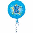 Zila folijas balons ar zvaigzne un ciparu 8 43 cm ar heliju
