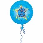 Zila folijas balons ar zvaigzne un ciparu 6 43 cm ar heliju