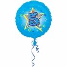 Zila folijas balons ar zvaigzne un ciparu 5 43 cm ar heliju
