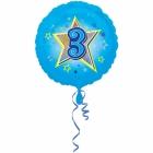 Zila folijas balons ar zvaigzne un ciparu 3 43 cm ar heliju