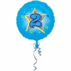 Zila folijas balons ar zvaigzne un ciparu 2 43 cm ar heliju